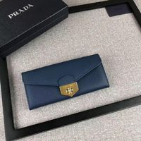 Prada 1M1037 Saffiano Leather Wallet In Navy Blue