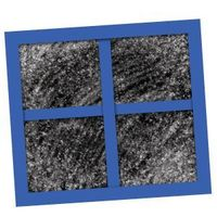 Epson salt to water then paint on black paper, wait over night, add construction paper blue accents. Frosty window