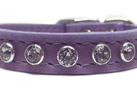 Bling Lavender Leather Small Dog Collars Cat Collars with Swarovski Crystal Rhinestones $34.00