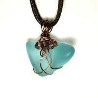 Blue Bohemian Copper Wire Wrapped Pendant with Chic Leather Statement Necklace $14.80