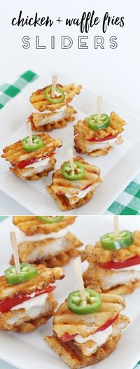 These chicken and waffle sliders are so easy to make and are perfect to serve a crowd. Use waffle fries for a fun twist on the traditional.