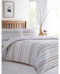 Bhs Printed Stripe Seersucker Bedding Set, natural This natural bedding set has a stylish and subtle seersuker effect, adding a level of texture to the stripe pattern. It has a smooth underside finish. Our essentials printed bedding range is now made http...
