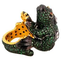 14k Gold Sterling Silver 8.48 Ct Ruby & Tsavorite Diamond Pave Frog Vintage Style Ring Handmade Jewelry