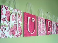 Name display, canvas or board, scrapbook paper, letters & ribbon... (No instructions available)- looks pretty self explanatory.