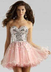 Short Pink Silver Glimmering Top Homecoming Dresses 2013