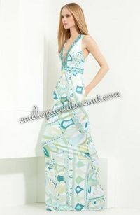 Emilio Pucci V-neck Printed Jersey Maxi Dress Blue Mint