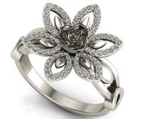 2 tone 18K White Gold Flower Ring Lotus Ring Diamond Leaves Ring Celtic Ring Open Flower Ring $1630.00