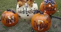 Family Name and each family member on faux pumpkins you could use them for years! Will definitely be making these!!!
