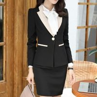 Price: $66.47 | Product: New fashion women Business formal long sleeve Patchwork skirt suits set | Visit our online store https://ladiesgents.ca