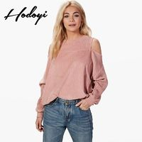 Vogue Sexy Simple Ruffle Off-the-Shoulder Scoop Neck One Color Fall Casual 9/10 Sleeves Hoodie - Bonny YZOZO Boutique Store