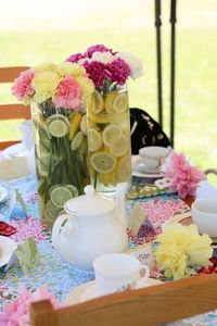Cute tea party with vintage dresses, pearl necklaces, umbrellas, big & little table & chairs, tea bingo activity & more mother daughter party ideas.