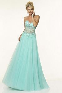 Lovely Tulle See Through Vintage Modern Prom Dresses A-line