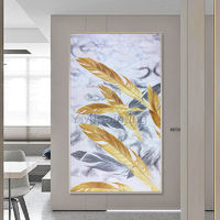 Framed wall art Gold art Feather Abstract paintings on Canvas Original art gray acrylic extra large painting Wall Pictures cuadro abstracto $161.25