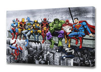 Marvel DC Superheroes Lunch Atop A Skyscraper Special Edition w Guest Star The Wasp! - Mounted Canvas Wall Art £19.99