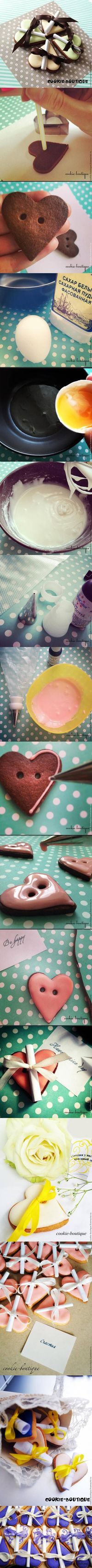 diy, heart cookies, messages, tutorial