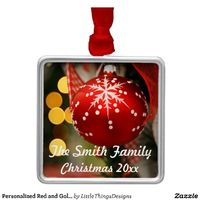 Personalized red and gold Christmas ornament