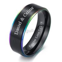 Personalized Black Wedding Band 7mm Polished Titanium https://www.gullei.com/personalized-black-wedding-band-7mm-polished-titanium.html