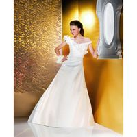 Simple A-line Off-the-shoulder Hand Made Flowers Sweep/Brush Train Satin or Taffeta Wedding Dresses - Dressesular.com