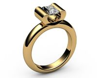 Solitaire Ring, Bar setting, 18K Solid Yellow Gold Unique Engagement Ring $1863.36