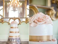 Blush and gold tiered wedding cake
