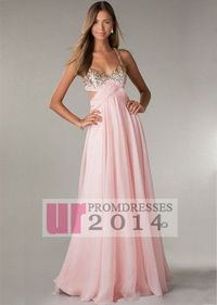 Long Pink Beaded Chiffon Prom Dress With Cut Out Sides