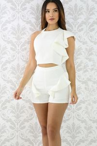 Pure Color Ruffles Tank Top with Shorts Two Pieces Set $22.99
