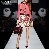 2017 autumn new style fashion cultivate one's morality printing base spell PU short coat dress suede twin set - Bonny YZOZO Boutique Store