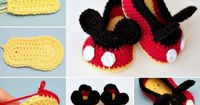 You will love these Mickey Mouse Crochet Booties and we have included the Minnie Mouse Crochet Booties too. They are both free patterns.