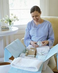 "What a good Idea, a baby shower in a box! Great for long distance people Baby Shower By Mail If the expectant mother doesn't live nearby, you can still shower her with love and good wishes by creating a ""baby shower in a box."" Choose a theme s..."