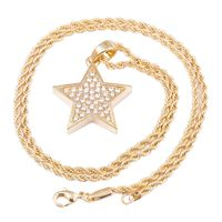 """MEN'S GOLD PLATED STAR MICRO PENDANT ICED OUT IRON ROPE CHAIN 3MM 30"""" HIP HOP BLING NECKLACE Colour: Gold Material: Alloy Special Features: Gold Plated Star Pendant Iced Out Iron Rope Chain Dimensions: Chain Length: 30 inches, Width: 3mm 6..."""