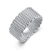 Sterling Silver Plated Woven Mesh Ring 925 Sterling Silver Unique Casual Rings $18.00
