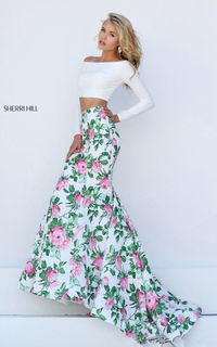 50433 Floral A Line Two Piece Mermaid Sherri Hill Cheap Dress For Prom
