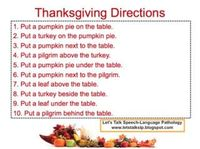 Let's Talk Speech-Language Pathology: Thanksgiving Following Directions. The free download is a language-based activity that focuses on following directions and spatial concepts!