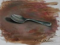 Original oil painting, 12x9 still life spoon , home decor, wall art, art collection, realism painting, impressionism, realism, realism art $559.00