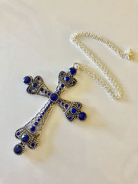 Large Cross with Blue Swarovski Crystals Necklace $25.00