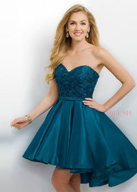 Beautiful Strapless Teal Lace Asymmetrical Hem Cocktail Dress 11167