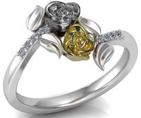 Leaves Ring Two Tone Yellow & White Promise Ring Unique Engagement Ring with Side Diamonds Floral ring Birthday Gift For Her day $735.00