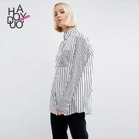 Oversized Vogue Simple Solid Color Fall Casual 9/10 Sleeves Stripped Blouse - Bonny YZOZO Boutique Store