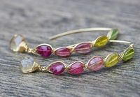 The Fifth Element Earrings - Watermelon Tourmaline Open Hoop Threader Earrings Wire Wrapped in Gold Filled �–� Measurements / Details: - Length from earlobe: 2 (~5.1 cm) - Gold: High quality 14K Gold Filled - Silver: High quality Sterling Si...